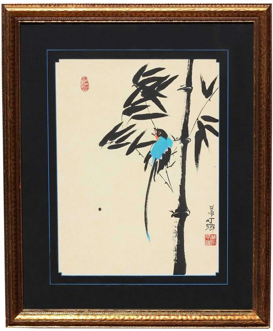 Blue Bird on Bamboo