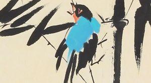 Blue Bird on Bamboo